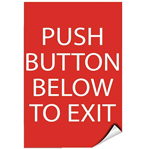 Label Decal Sticker Push Button Below To Exit Ada Sign Ada Exit Signs Durability Self Adhesive Decal Uv Protected & Weatherproof -