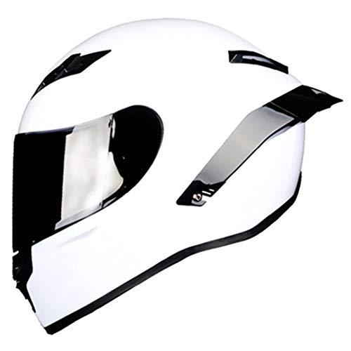 JDSIJINM Casco da Gara Professionale da Motociclista Full Face in Fibra di Carbonio DOT Rainbow Visor Motocross off Road Touring Gloss 11 L
