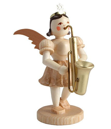 Blank Kurzrockengel m. Saxophon natur ca. 7 cm EK035 Blank Kunsthandwerk aus dem Erzgebirge