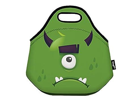 fringoo® Kinder Isolierte Lunch Tasche Neopren Thermo Kühler Reißverschluss Tragetasche speisenhalter Schule Reise Picknick Kinderzimmer, green Monster - Lunch Bag