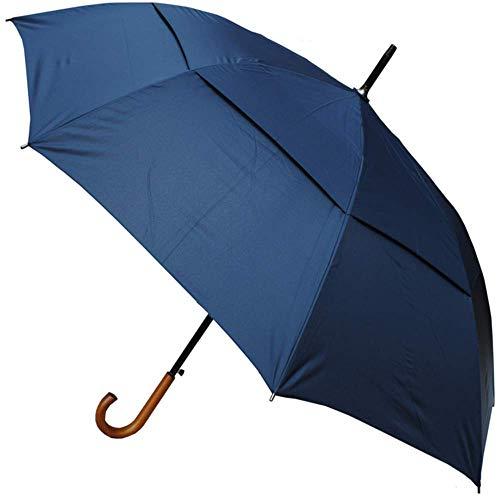 Collar and cuffs london - antivento extra robusto- struttura rinforzata con fibra di vetro - ventilato doppio calotta - manico in legno - automatico - ombrello classico - blu navy