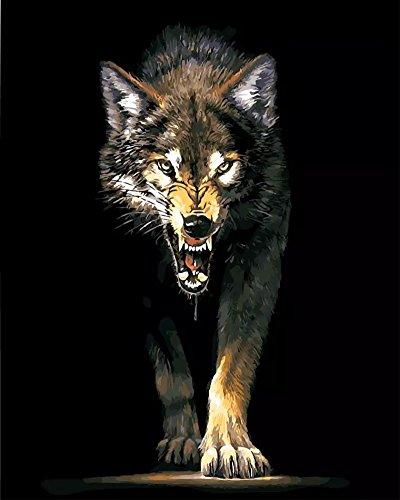 OBELLA Malen nach Zahlen Kits || Böser Wolf 50 x 40 cm || Malen nach Zahlen, DIGITAL Ölgemälde (Mit Rahmen) (Sexy Wolf Erwachsene)