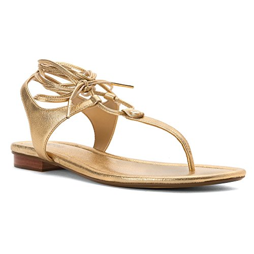 Michael Kors Damen 40S6Sffa1M SofiaFlat Sandal Gold, 38.5 EU (Gold Michael Kors Flats)