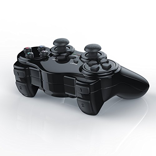 CSL - Wireless Gamepad für Playstation 2 PS2 mit Dual Vibration - Joypad Controller | neues Modell | schwarz