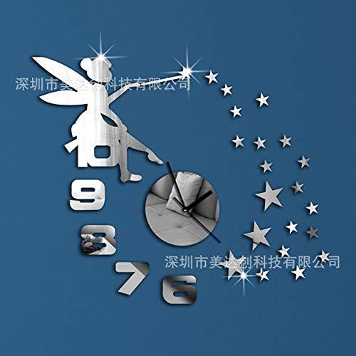 jiangyingpan Angel Star 3D Wanduhr Tisch Wohnzimmer Schlafzimmer Acryl Ornament Spiegel Wandaufkleber