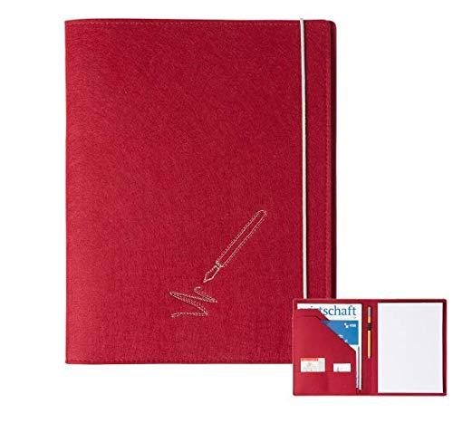 Schreibmappe \'Pen\' A4 aus Filz (dunkelrot, Farbe wählbar)   Konferenz-Mappe für Block, Dokumente, Blätter, Visitenkarten, Stifthalter
