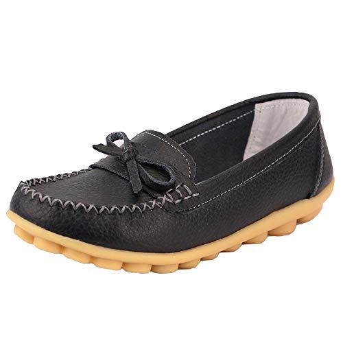 zhenghewyh Damen Mokassins Bootsschuhe Leder Loafers Flache Fahrschuhe Sommer Casual Hausschuhe Leichte Erbsenschuhe für Mädchen (schwarz 39) -
