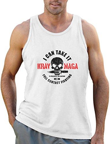Cooles Geschenk Krav Maga - Totenkopf mit Messer Tank Top Weiß