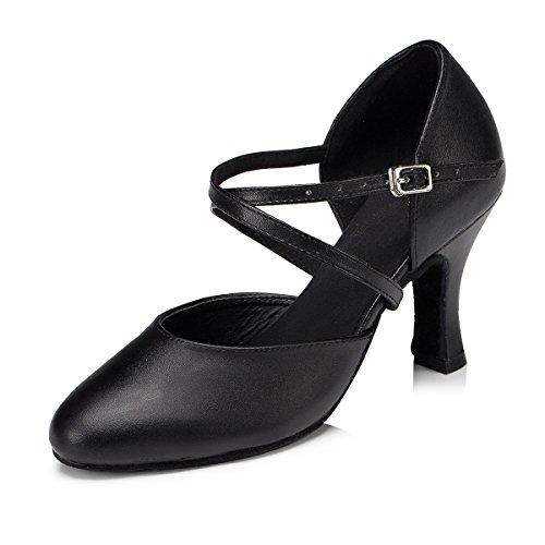 Minitoo Damen Kreuz Leder Gitarrengurt Latin Salsa Ballroom Dance Schuhe, Schwarz - Black-8cm Heel - Größe: 39 / 6 UK (Leder Schuhe Rosa Hot)