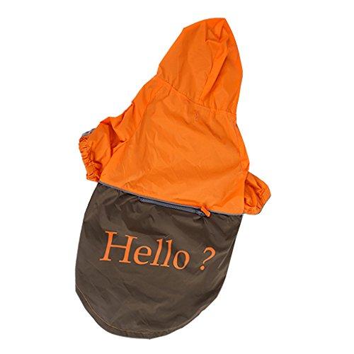 Generic Pet Large Dog Rain Slicker Raincoat Orange with dark coffee Size XXL