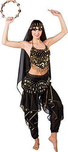 Da Donna Deluxe Sexy Nero Arabo Turco Jasmine Danzatrice Del Ventre Addio Al Nubilato Festa Sera Costume Vestito