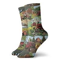 AORSTAR Socks Breathable Harvester Farmall Tractor Cotton Crew Sock Exotic Modern Women & Men Printed Sport Athletic Socks 11.8in