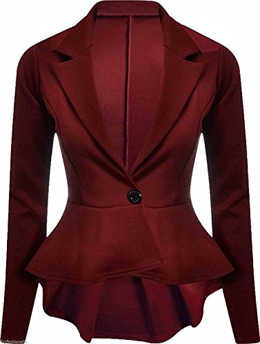 Girlzwalk Frauen Damen Crop Frill Shift Langarm Slim Fit Peplum Blazer Jacke Plus Größe (Wein, ML 40-42) Plus Größe Peplum Jacke