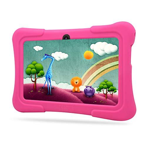 Tablette Tactile Enfants Dragon Touch Tablette 7 Pouces WiFi & Bluetooth, IPS HD 1024x600, Android 7.1, Quad Core 1 GO Ram 8 GO Rom, Kidoz & Google Play Préinstallé, Contrôle Parental, avec Etui Rose