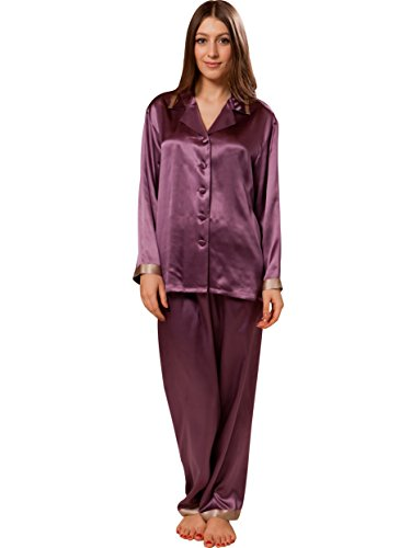 Ellesilk Luxurious Silk Pajama Set femme avec Piping Raisin / Café