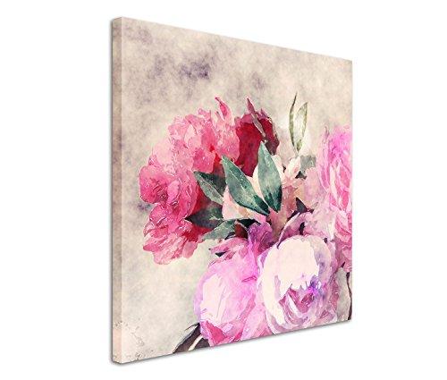 Fotokunst quadratisch 60x60cm Bild – Rosen und Pfingstrosen in Wasserfarben Optik