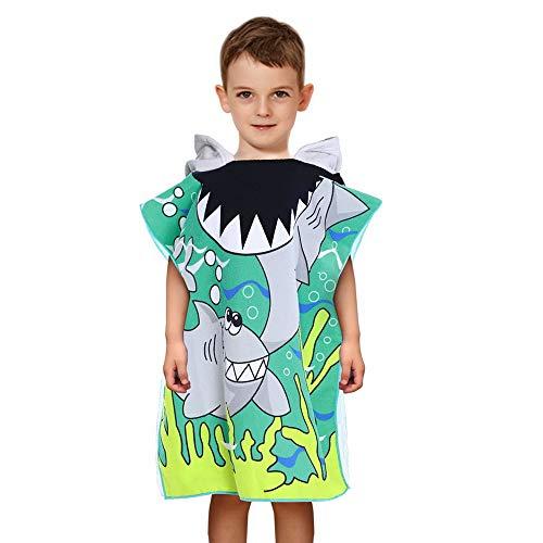 ChicSoleil Kinder Kapuzen Strandtuch Tragbar Mikrofaser Bademantel Handtuch Badetücher für Mädchen Jungen 60x120cm 1 Stück