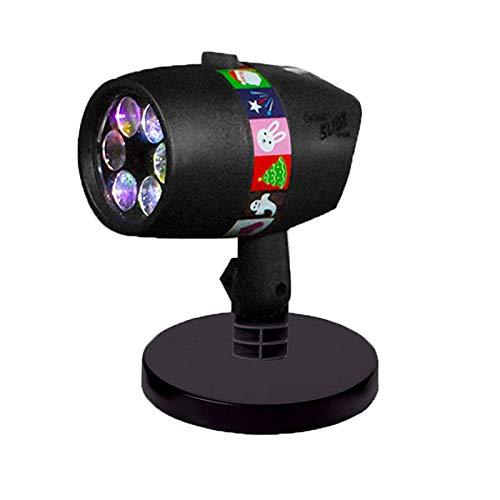JAY-LONG LED Schneeflocke Projektionslicht, BüHnenlicht, Dia Show Halloween 12 Muster Film Karte Projektor Licht, Weihnachtsfeiertagsdekoration,US