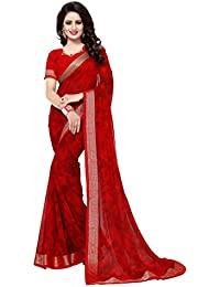 Oomph! Women's Chiffon Printed Sarees - Crimson Red