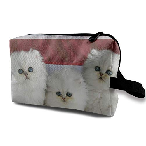 Women's Cute White Cat Kitty Travel Hanging Toiletry Bag Portable Travel Kit Shaving Bathroom Storage Bag Waterproof Cosmetic Organize -