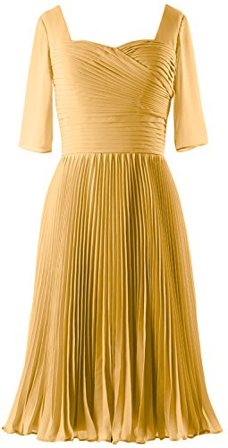 MACloth Women Half Sleeves Mother of Bride Dress Chiffon Cocktail Formal Gown gold
