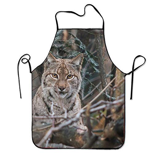 Icndpshorts Lynx Aprons Waterproof Aprons with Adjustable Kitchen Cooking and Bib BBQ Apron Waterproof Lynx