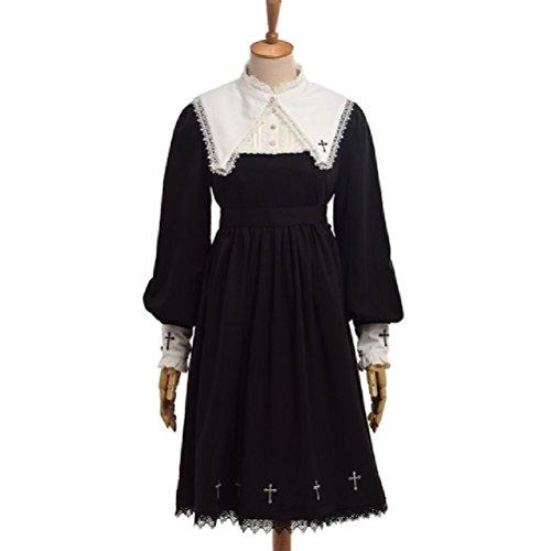 warz Lolita Kleid Langarm Kreuz Stickerei Abnehmbare Spitze Kragen Kostüm (Kragen Und Manschetten Kostüme)