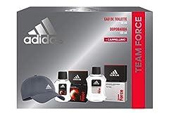 Idea Regalo - Adidas, Confezione Regalo Uomo Team Force, Eau de Toilette 50 ml, Dopobarba 100 ml, Cappellino con Visiera