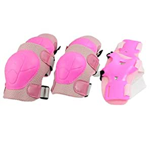 sourcingmap Children Skating Gear Knee Elbow Pads Wrist Support Set Pink