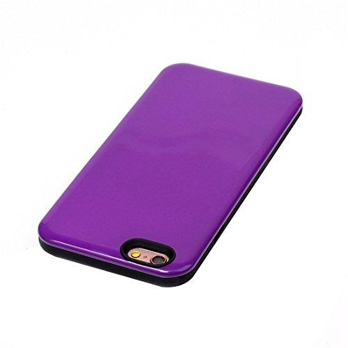Phone case & Hülle Für iPhone 6 / 6s, TPU + PU Kombination schützende rückseitige Abdeckungs-Fall ( Color : Purple ) Purple