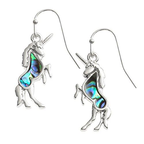 zwei Einhorn-Ohrringe in Silber mit türkisblauer Muschel - Produktbild