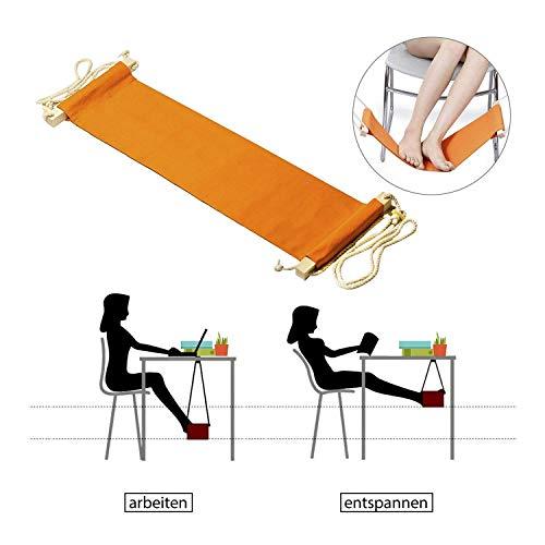 StillCool fußhängematte Fußstütze - Setzen Sie Ihren Fuß auf der Hängematte unter dem Schreibtisch Verstellbar bequem für Ihr Fuß büro (Orange) -