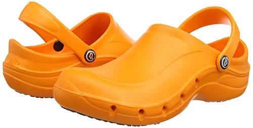 Toffeln Eziklog, Unisex - Erwachsene Arbeits Clogs, Schwarz (Schwarz), 46 EU (11 UK) Orange (Orange)