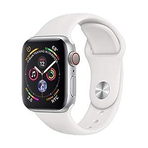 AppleWatch Series4 (GPS + Cellular) 40mm Aluminiumgehäuse, Silber, mit Sportarmband, Weiß