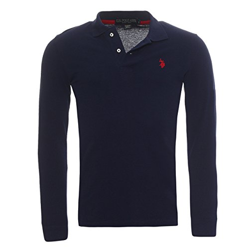 Plain Piccolo marchio US Polo ASSN uomo manica lunga T-shirt in cotone 100% disponibile in 6 colori e 5 formati.