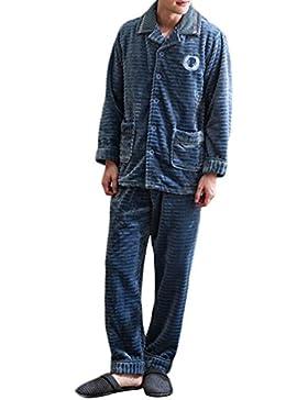 Pijama de hombre, pijama de lana de coral, conjunto de ropa abrigada y cómoda para el hogar