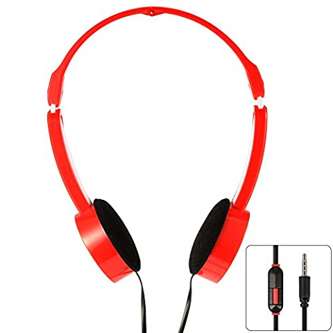 XCSOURCE 3.5mm Casques Ecouteurs de Musique Casque Ecouteurs de Sur-oreille Enfants Contrôle de Ligne Évolutif Pliable Universel MP3 Rouge TH337