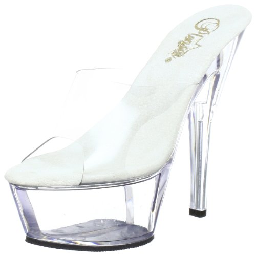 Pleaser KISS-201 Damen Sandalen, Transparent (Clr/clr), EU 41 (UK 8) (US 11) (41 Eu Sandalen)