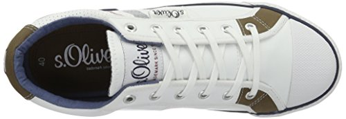 s.Oliver 13622, Sneakers Basses Homme Blanc (White 100)
