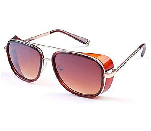 (Goldener Brillen Braun Lens) Sonnenbrille Modell Steampunk Iron Man Tony Stark Retro Herren Damen Unisex