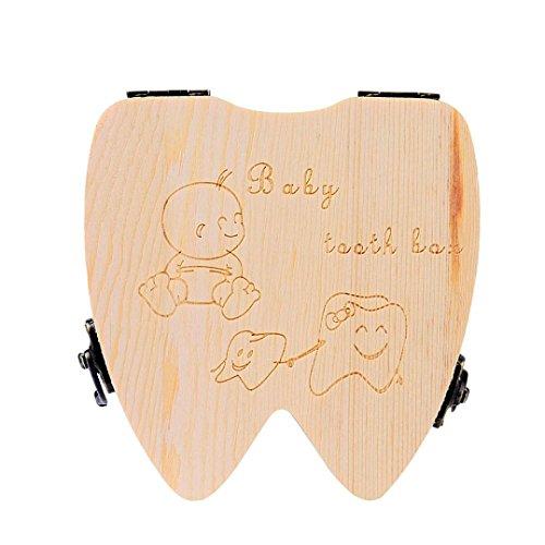 Winkey Baby Zahn sparen Box Organizer, Kinder Holz Milch Zähne Aufbewahrungs Fairy Souvenir Box Andenken Halter -