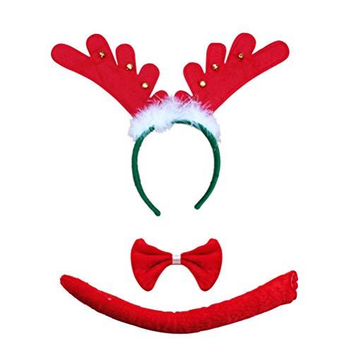 STOBOK 3 stücke Set vlies Geweih Weihnachten Haarbänder Kostüm Zubehör Dekorative Haarbänder Party Favors Foto Requisiten Enthalten Glocken ()