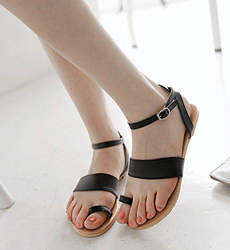 Aisun Femme Confortable Chaussure de Plage Peep Toe Sandales Noir