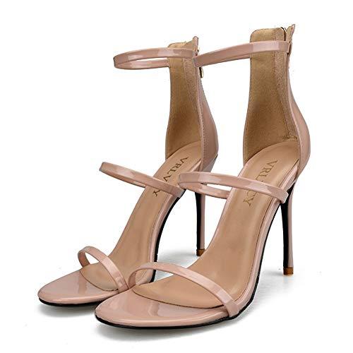 Frauen High Heels Party Schuhe Sommer ZurüCk Metallic ReißVerschluss Ankle Wrap Offene Spitze Plattform Gladiator Sandalen