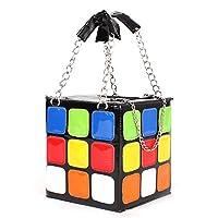 Auplew Ladies Pure Color Hipster Hiphop Design Portable Storage Bag PU Leather Cube Shape Handbag