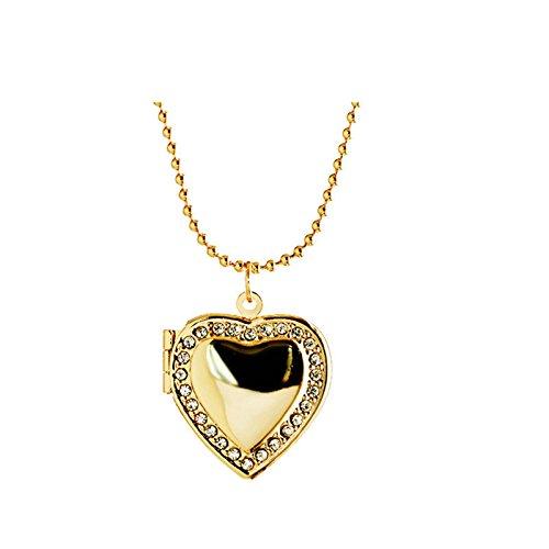zum öffnen mit Kette Herz Anhänger Halskette Damen Herren Gold (Waffen Tragen Kostüm)