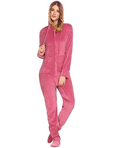Unibelle Damen Pyjama mit Kapuzen Footed Jumpsuit Schlafanzug Rot Einfügen Rot Einfügen S