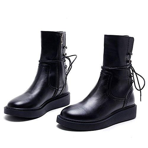 Rismart Nouvellement Femmes Mode Arrière Lacer Plate-forme Veau Bottes Cool Style de Rue Noir Fermeture Eclair Bottes Noir