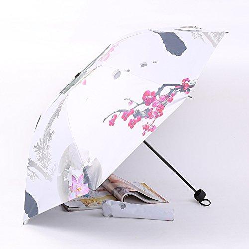 Sasan Hand China Wind Sonnenschirm kreative Gummi schwarz Falten Sonnenschirm UV-Sonnenschutz Ultra...