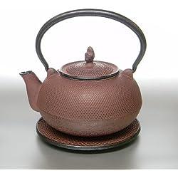 Gusseisen Teekanne (1,5 l) antik-rot mit Sieb und Untersatz (D03-031/1,5l)